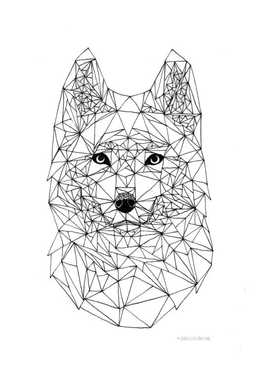 Geometric Wolf - geometric, lines - carotillustrations | ello