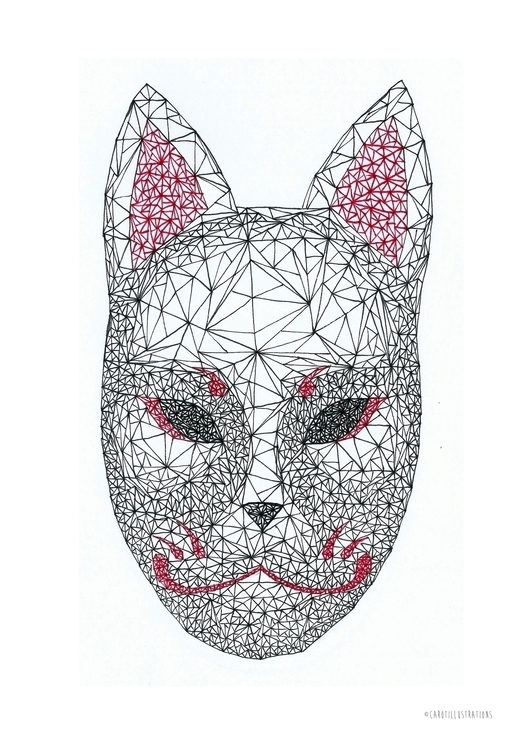 Geometric Kitsune Mask - illustration - carotillustrations | ello