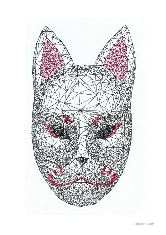 Geometric Kitsune Mask - illustration - carotillustrations | ello