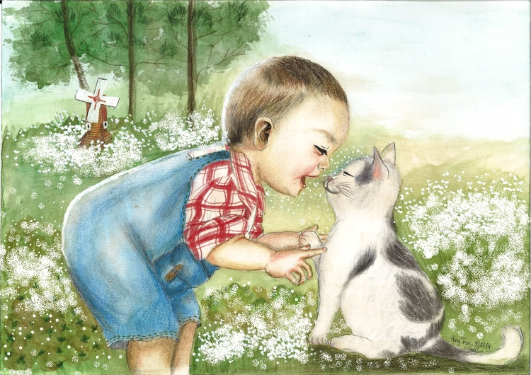 Kid cat - painting, watercolour - moonyhang | ello