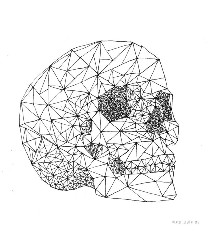 Geometric Skull - illustration, drawing - carotillustrations | ello