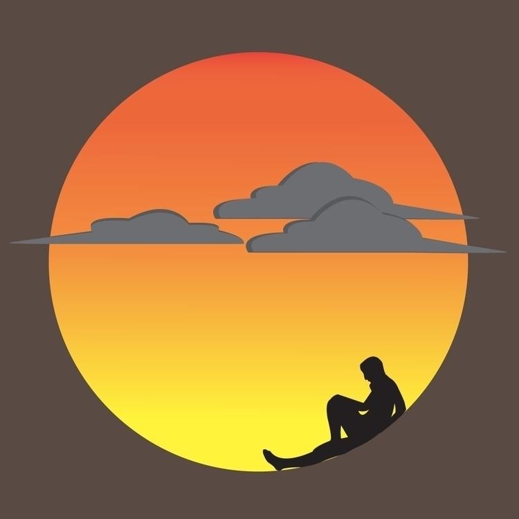 Sunset shares sadness - illustration - afiaahmed | ello