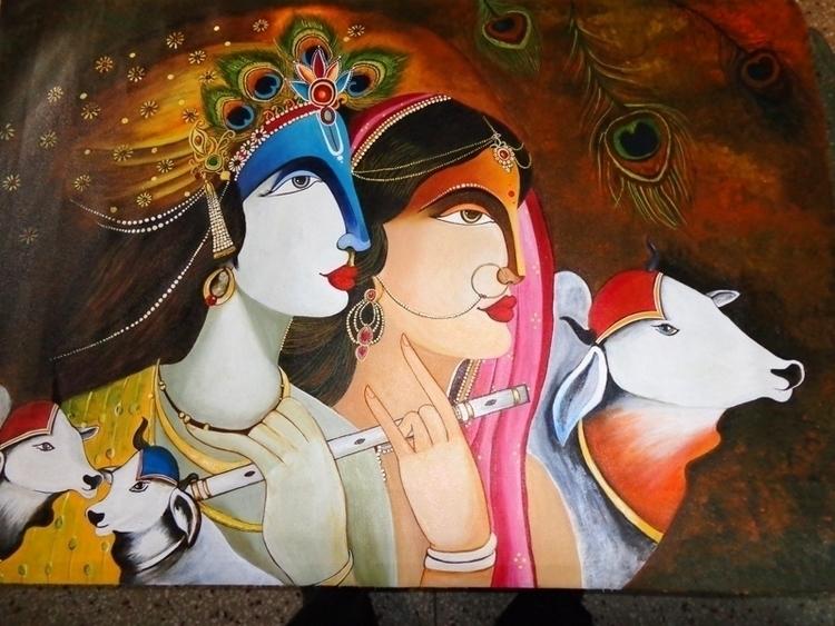 KRISHNA RADHA - Canvas Prints S - neeruart | ello