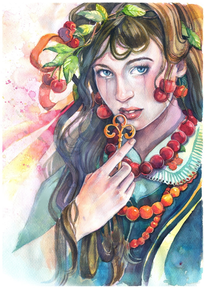 Dowry watercolor + ecolines - illustration - lavandula-8416   ello