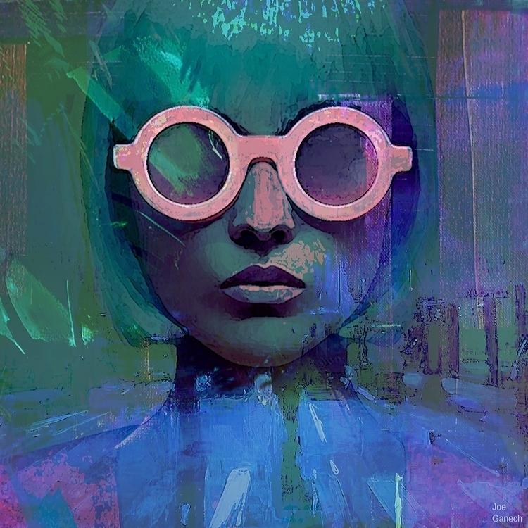 Pink glasses girl - portrait, woman - ganechjoe   ello