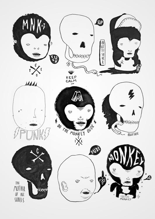 Skulls Monkeys - skull, monkey, lowbrow - cote-1413 | ello