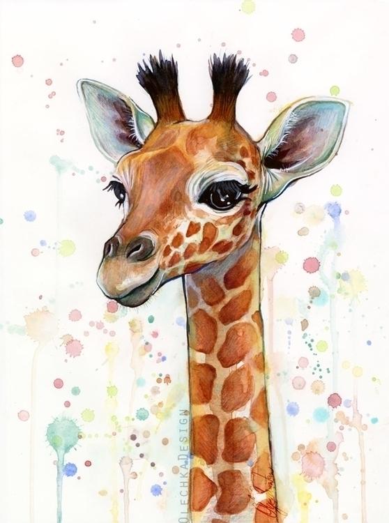 Baby Giraffe Watercolor - giraffe - olechkadesign | ello