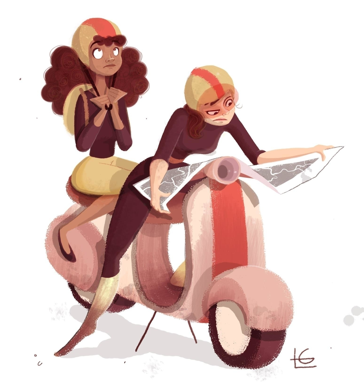 Scooter Girls - girls, illustration - estrelalourenco | ello