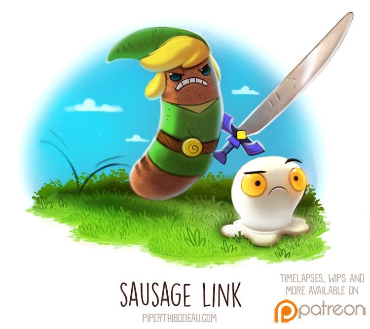 Daily Paint 1513. Sausage Link - piperthibodeau   ello