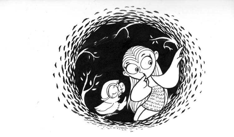 Owlie timid owlgirl - illustration - amrita-4734 | ello