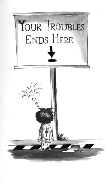troubles :| - illustration, penink - amrita-4734 | ello