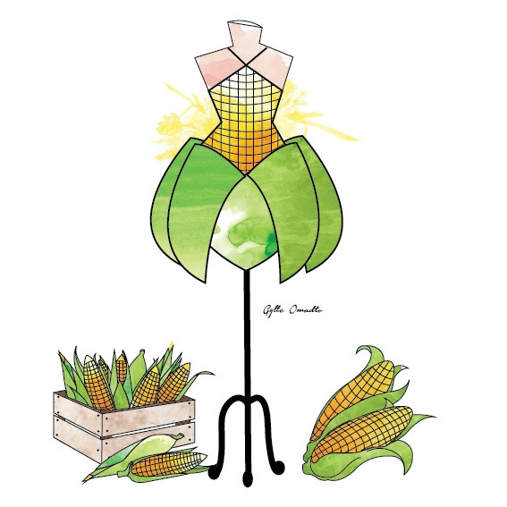 Sweet Corn inspired dress - illustration - mgylle | ello