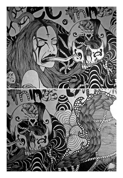 Psychedelic Chaos Part.1 - skull - bibs-6812 | ello