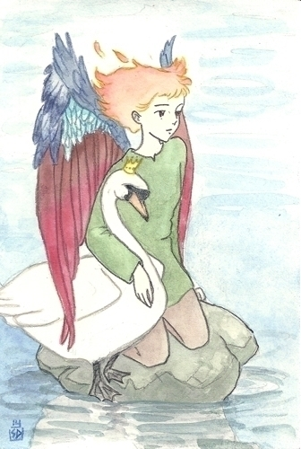 Swan Angel - illustration, painting - serenedaoud | ello