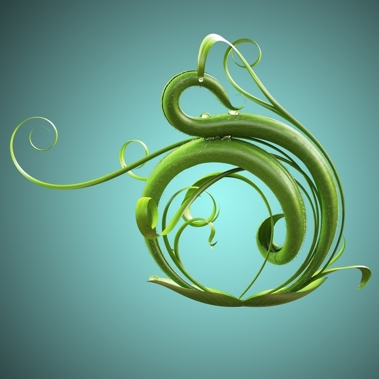typography, 3d, leaves, 3dart - onujuno | ello