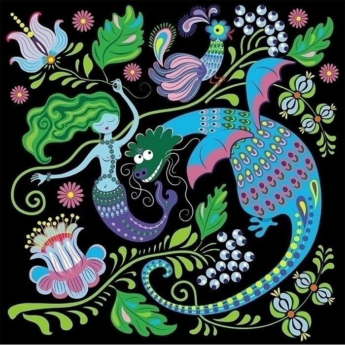 Dragon Mermaid - illustration, vector - ololonycolophony | ello