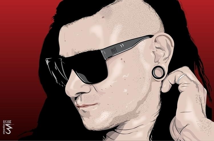 Skrillex - illustration, painting - artespraticas | ello