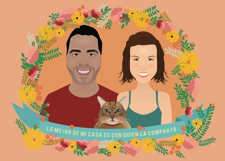 Couple portrait cat - Saul, Mar - lydilena | ello