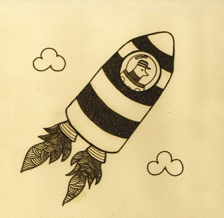 rocket - vintage, retro, illustration - marianabeldi | ello