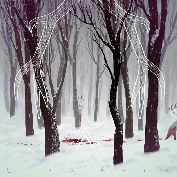snow, antlers, trees - lisaayla | ello