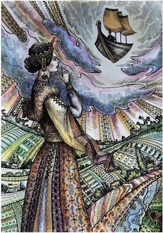 Flying Ship - illustration, painting - odarkaluhihi | ello