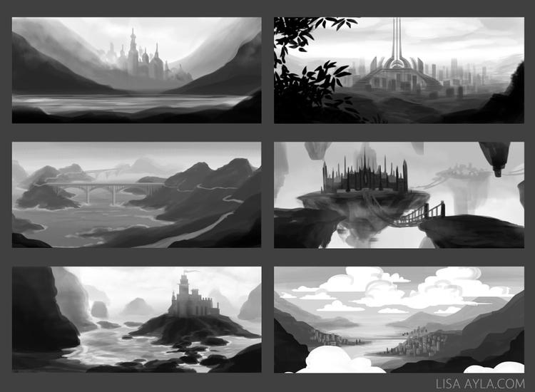 landscape, sketches, castle - lisaayla | ello