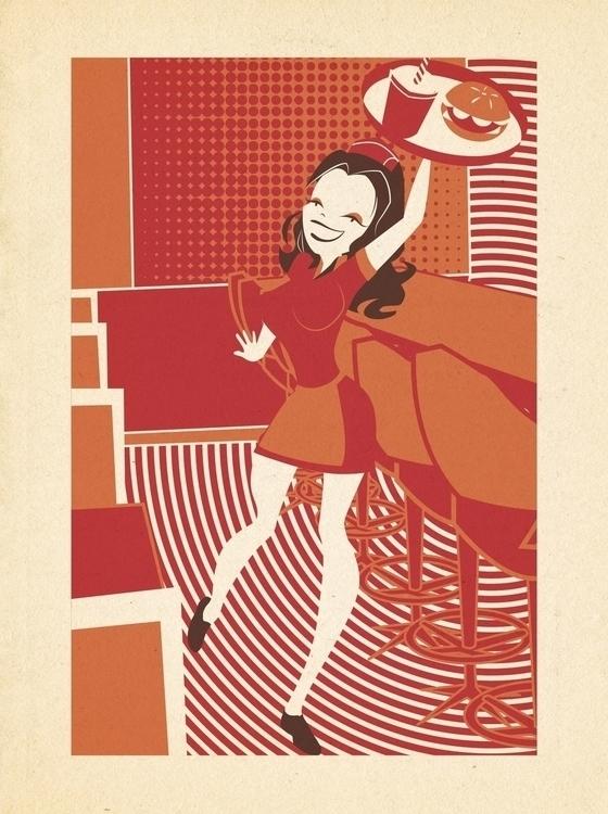 Waitress Retro Modern Style - waitress - apeles | ello