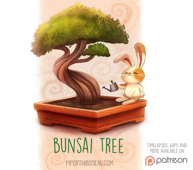 Daily Paint 1527. Bunsai Tree - piperthibodeau | ello