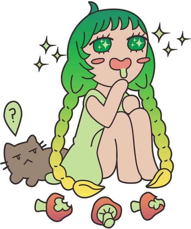 girl, cat mushrooms - digitalart - laurentesch | ello