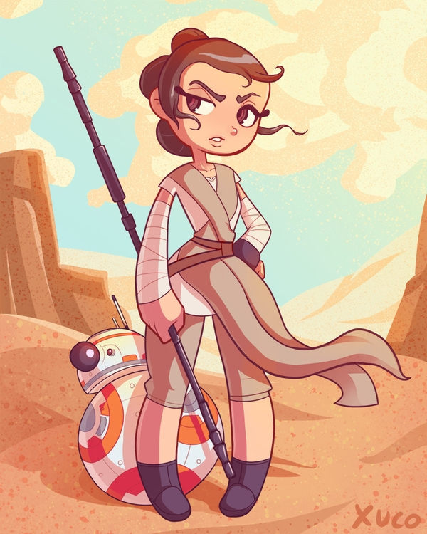 Rey BB8 - illustration, starwars - xuco | ello