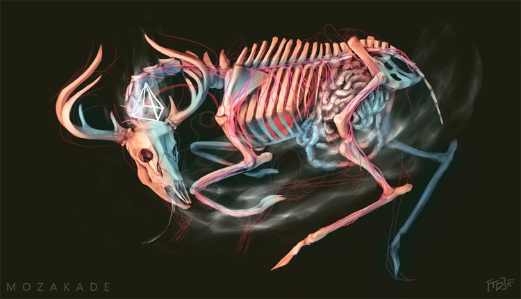 Fear - deer, skeleton, creepy, digitalart - mozakade | ello