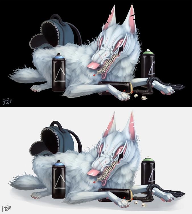 Graffiti Wolf - white, wolf, graffiti - mozakade | ello