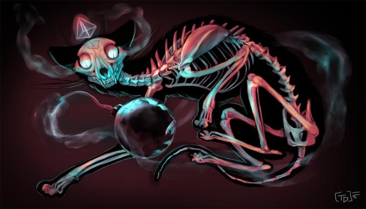 Cat Bomb - cat, skeleton, bomb - mozakade | ello