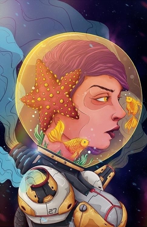 La Estrella - astronaut, star, space - charringo   ello