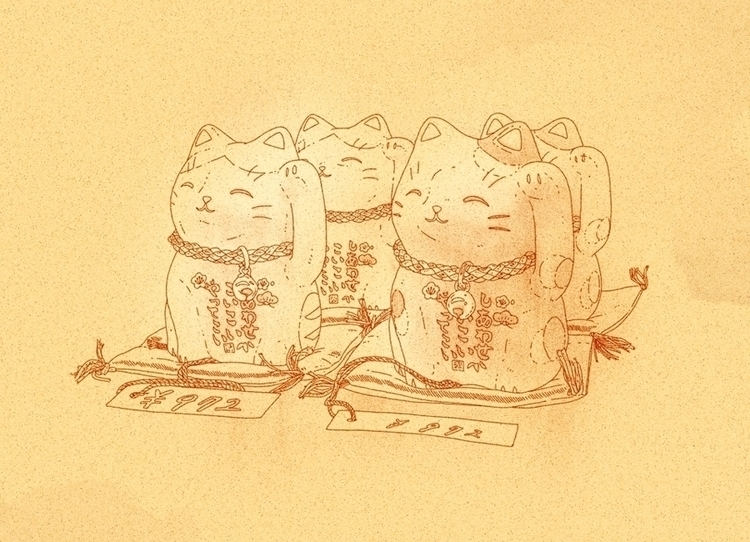Sketch lucky cats store - illustration - alexmorris1 | ello