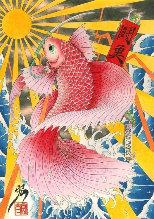 betta fish - japan, illustration - kota_nakatsubo | ello