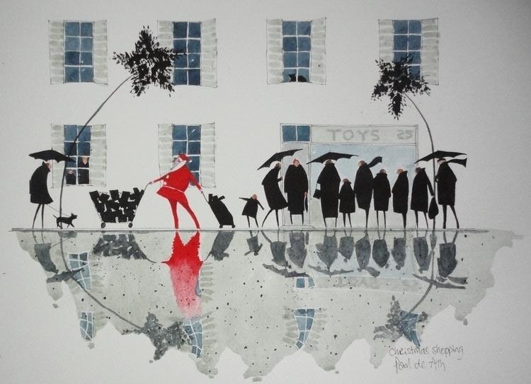 Christmas shopping - painting, watercolour - paulfrance   ello