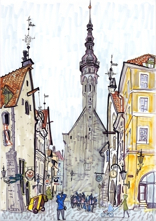 tallinn, oldtown, travel, sketch - naktisart | ello