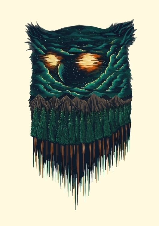 owl - illustration, nightsky - itssummer85 | ello