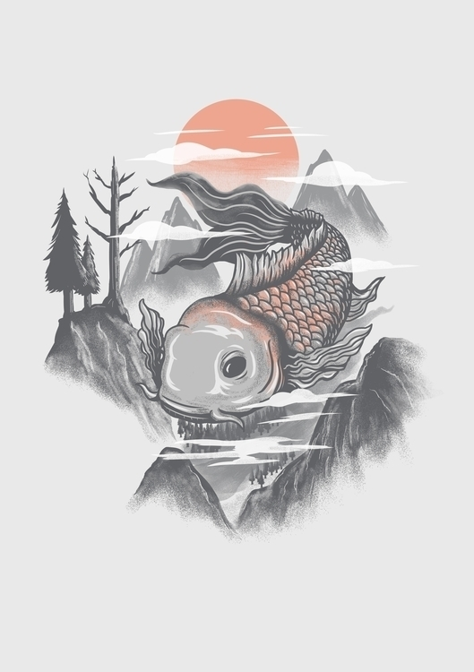 koi fish - illustration, mountains - itssummer85 | ello