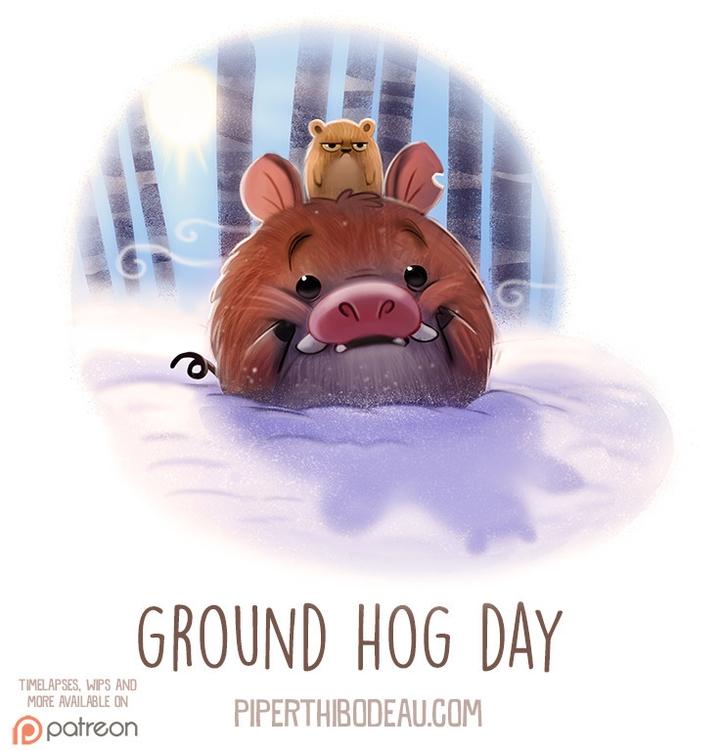 Daily Paint 1535. Ground Hog Da - piperthibodeau | ello