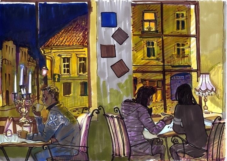 vilnius, night, evening, cafe - naktisart | ello