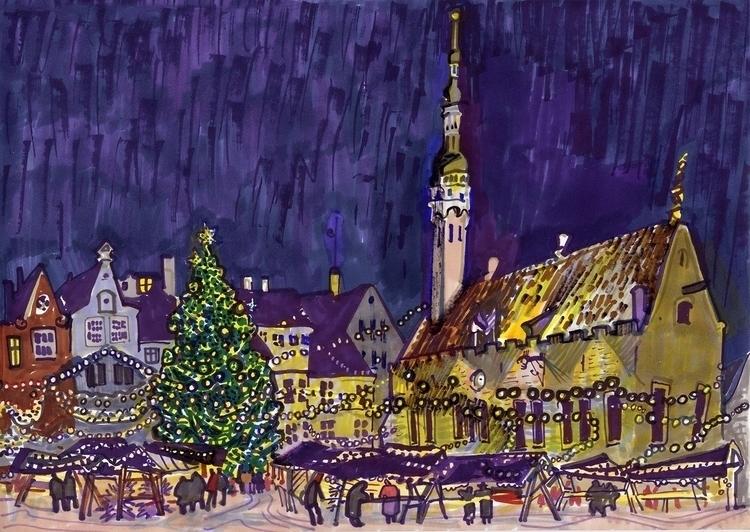 tallinn, oldtown, night, christmas - naktisart | ello