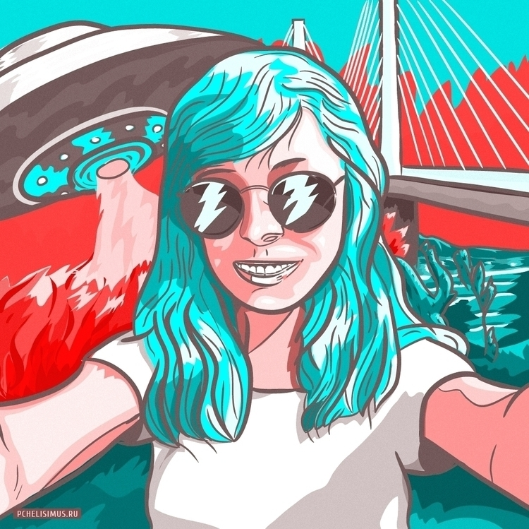 selfie - illustration, picture, girl - pchelisimus | ello
