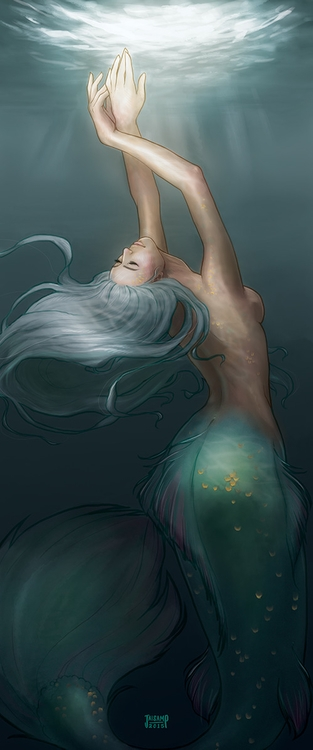 Mermaid Teal - illustration, mermaid - jaisamp | ello