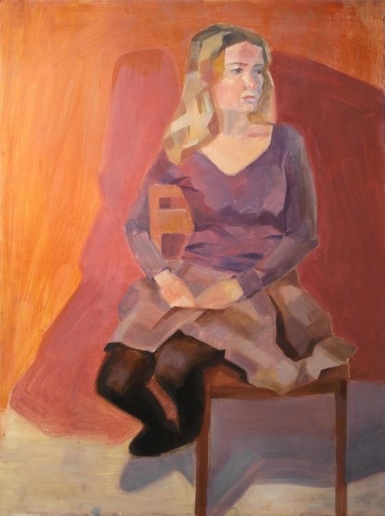 Orange background. Oil canvas - painting - 2djanel   ello
