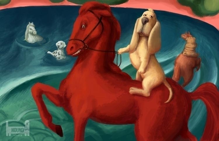 Inspired Art: Bathing Red Horse - houndstudio   ello