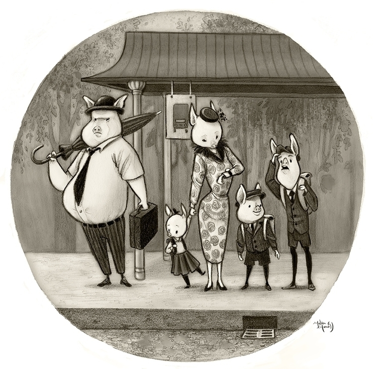 Bus Stop - graphite, pigs - mel-1081 | ello