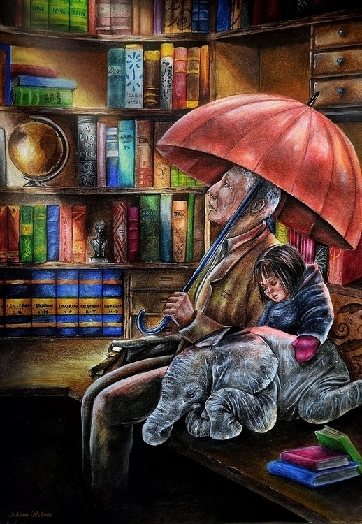 Library - illustration, drawing - adriennschmitt | ello