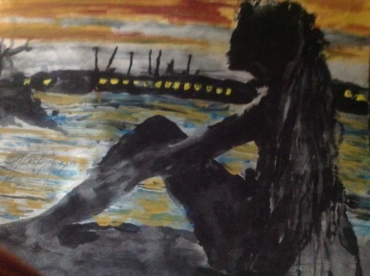 woman sites ocean - art, silhoutte - loveart_wonders   ello